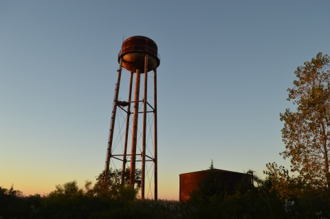 Crab island fish factory watertower