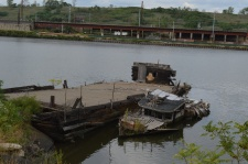 Barge and tugboat wreck